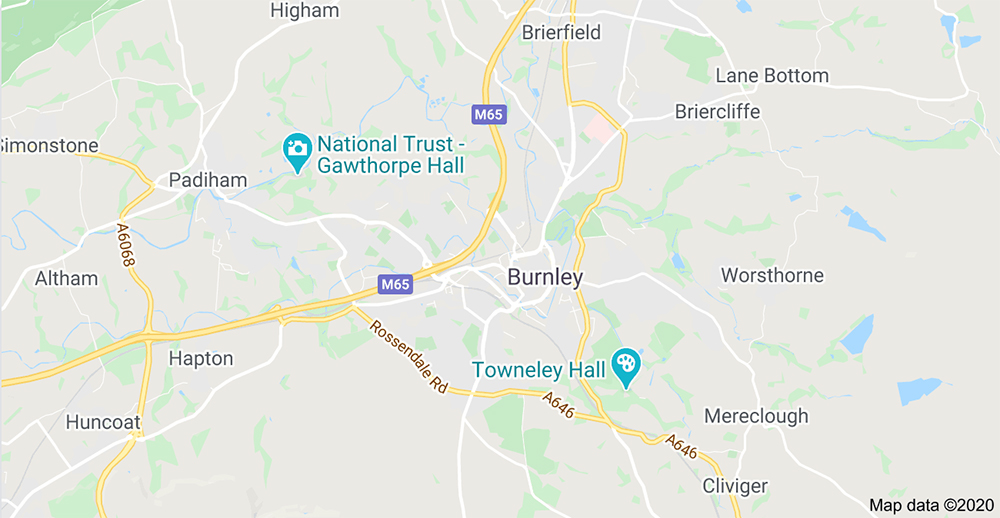 Aerial Installation in Burnley and surrounding areas shown on map.