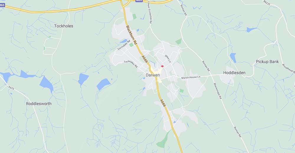 Coverage Map for Aerial Fitter in Darwen