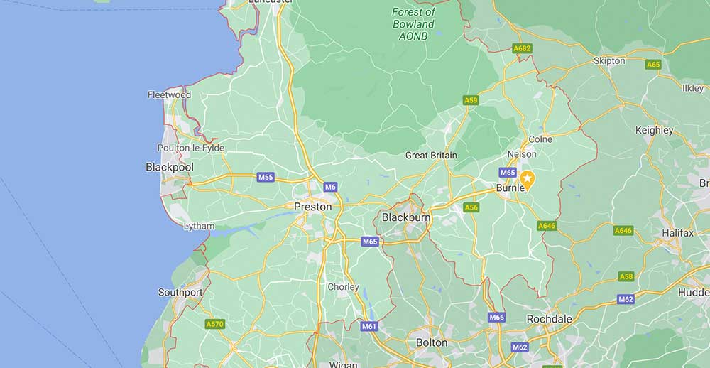 Coverage Map For TV Aerial Installations in Lancashire