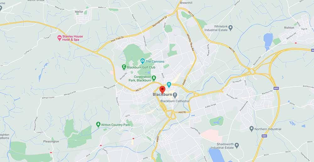 Coverage Map For TV Aerial Fitter in Blackburn
